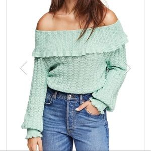 NEW Free People Mint Off the Shoulder Sweater